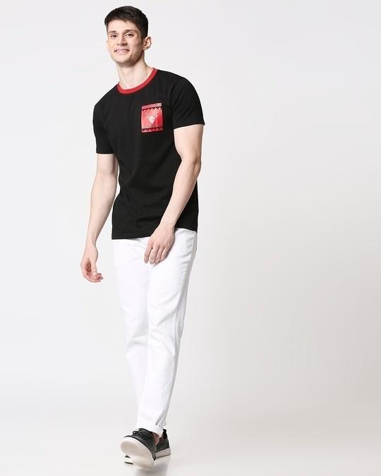 Shop Men Contrast Rib Printed Pocket Black T-shirt