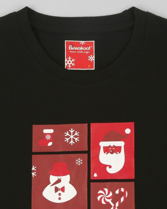 Shop Men Santa Chest Printed Half Sleeves Black T-shirt