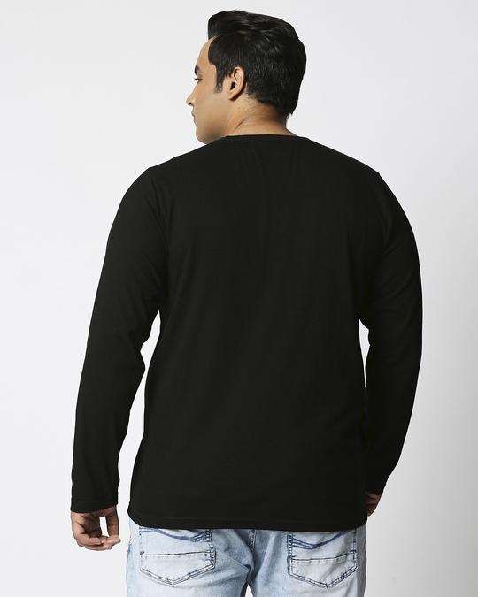 Shop Black Plus Size Full Sleeve T-Shirt-Design