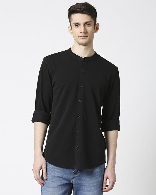 Shop Comfort Pique Knit Black Shirt-Back