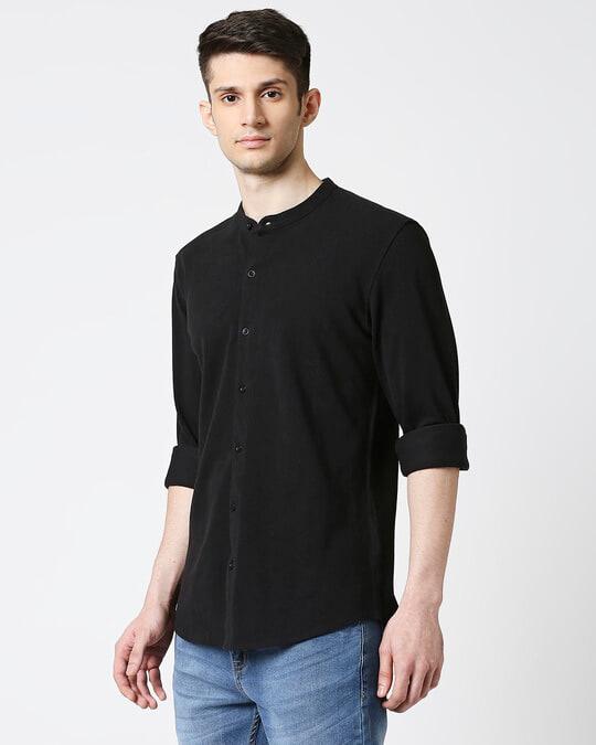 Shop Comfort Pique Knit Black Shirt-Design
