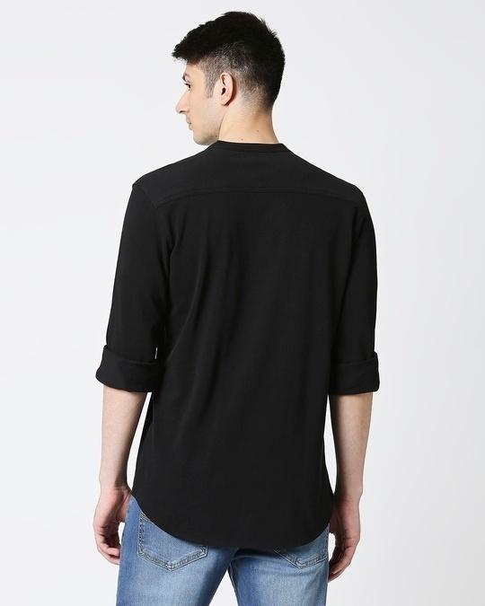 Shop Comfort Pique Knit Black Shirt-Full