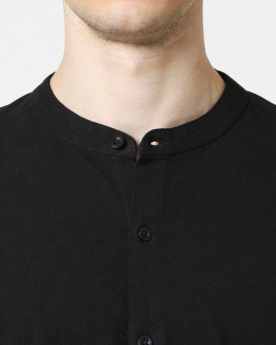 Shop Comfort Pique Knit Black Shirt