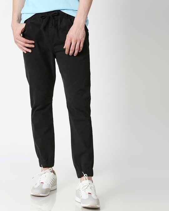 Shop Jet Black Mens's Chino Joggers-Front