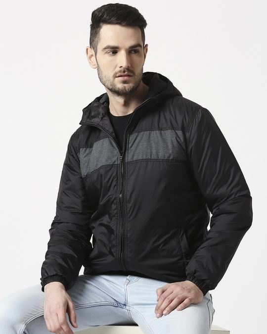 Shop Black Metallic Puffer Jacket-Front