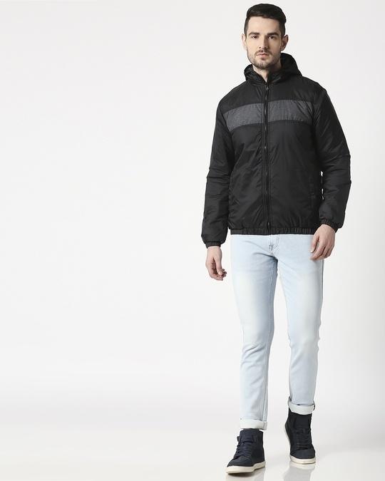 Shop Black Metallic Puffer Jacket
