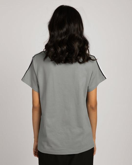 Shop Black N White Side Panel Boyfriend T-Shirt-Full