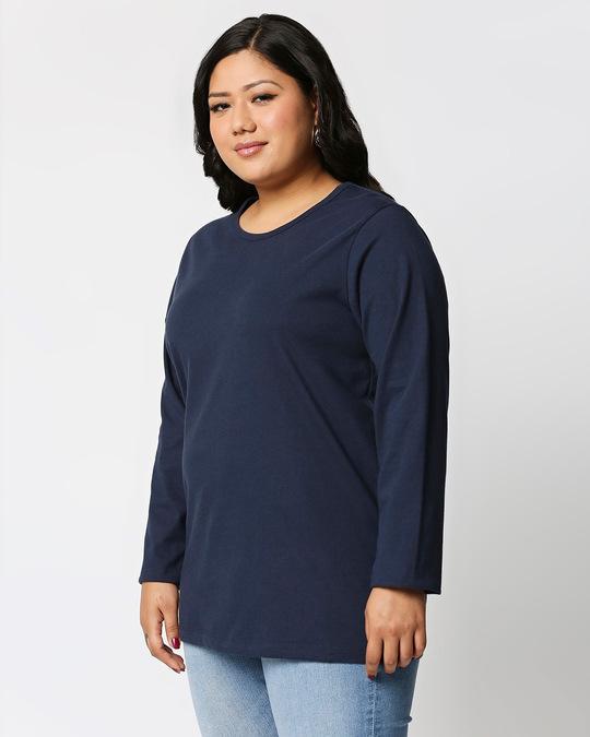 Shop Black-Navy Blue Full Sleeve Plus Size T-Shirt Combos