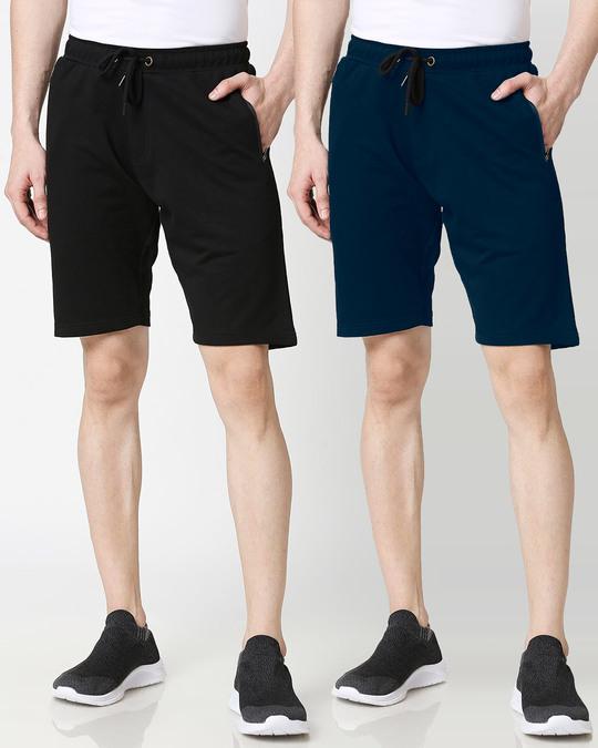 Shop Jet Black Navy Blue Zipper Shorts Combo-Front