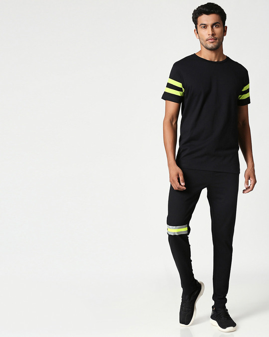 Shop Black-Neon Lime Reflector Jogger-Full