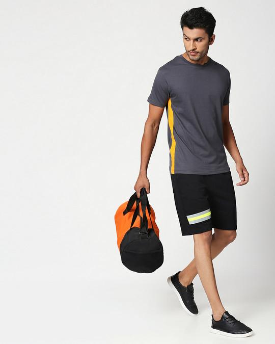 Shop Black-Neon Lime Reflector Shorts-Full