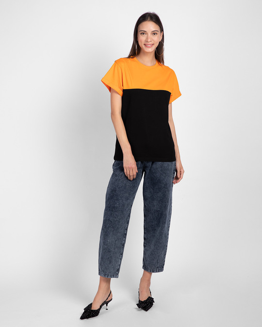 Shop Black-Neon Orange 90's Vibe Boyfriend Panel T-Shirt