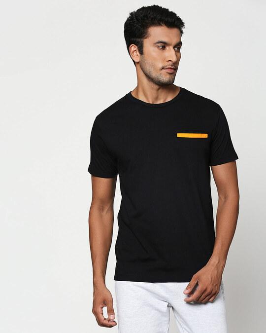 Shop Black-Neon Orange Contrast Bone Pocket T-Shirt-Front