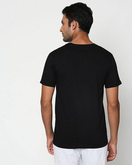 Shop Black-Neon Orange Contrast Bone Pocket T-Shirt-Design