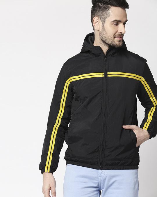 Shop Black Chest Stripe Jacket-Front