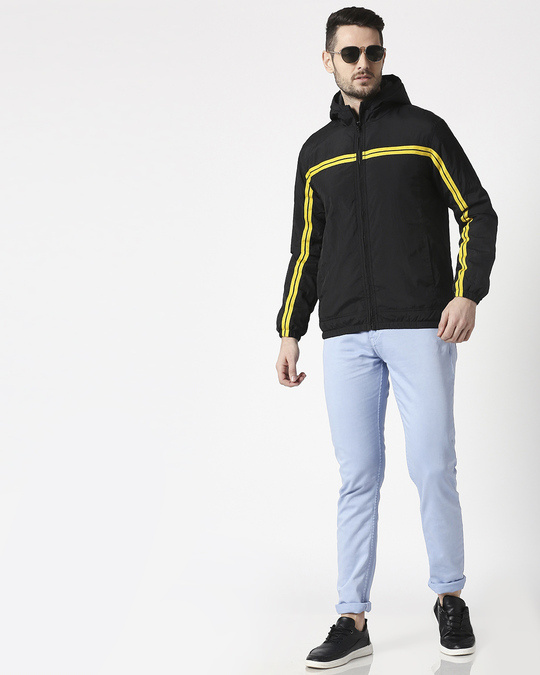 Shop Black Chest Stripe Jacket
