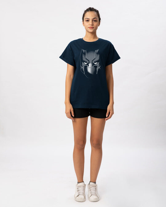 Shop Black Panther Face Boyfriend T-Shirt (AVL)
