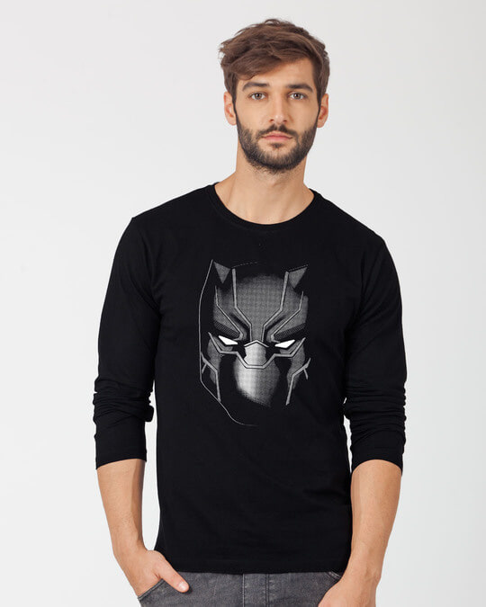 Shop Black Panther Face Full Sleeve T-Shirt (AVL)-Front