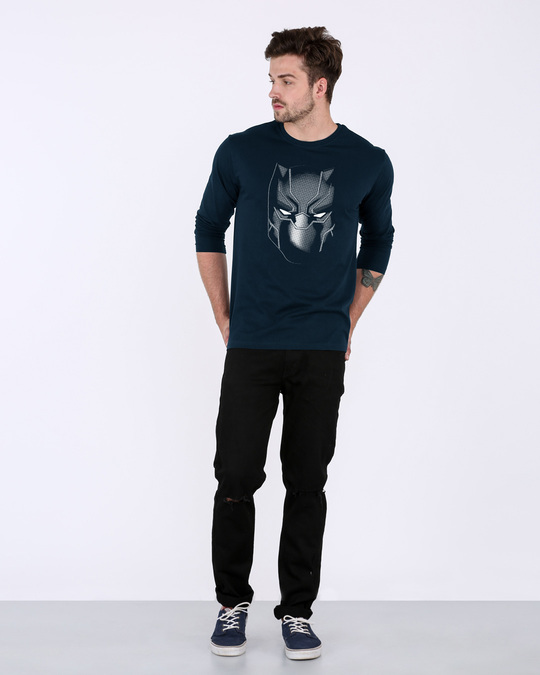 Shop Black Panther Face Full Sleeve T-Shirt (AVL)