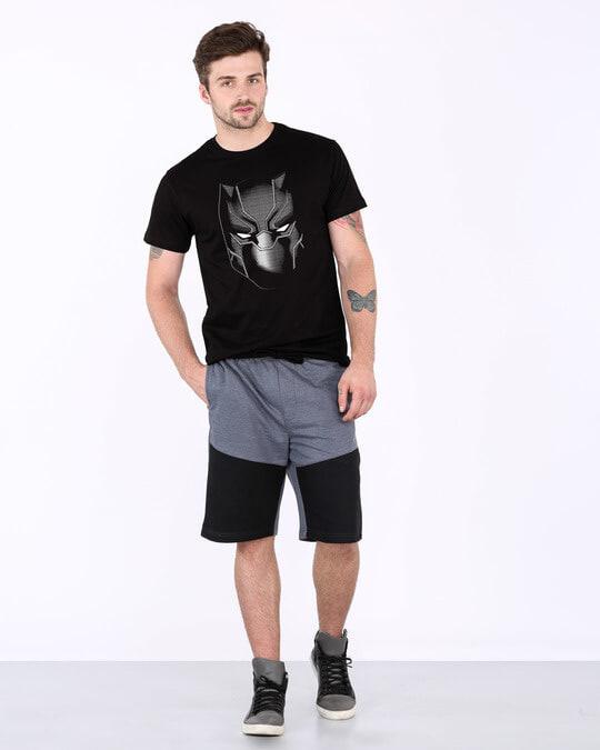 Shop Black Panther Face Half Sleeve T-Shirt (AVL)