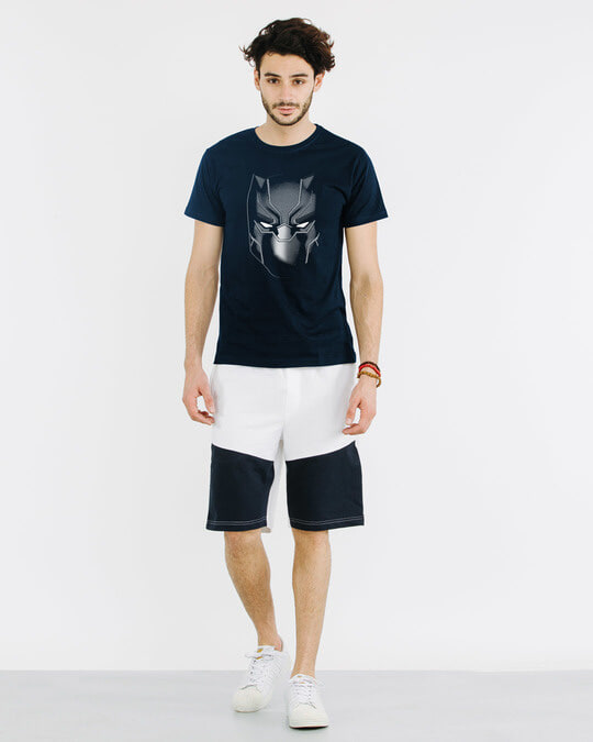 Shop Black Panther Face Half Sleeve T-Shirt (AVL)
