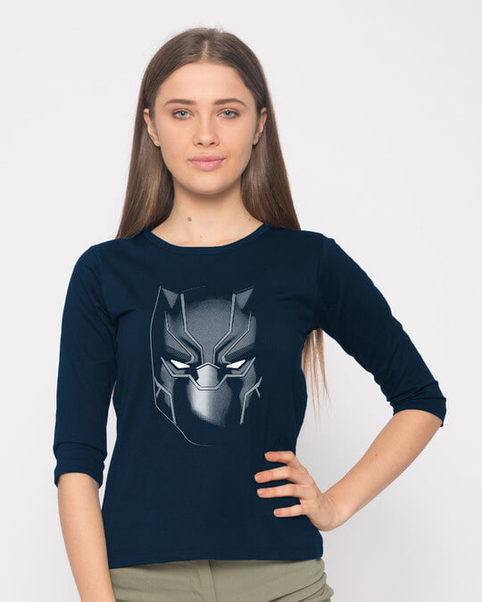 Shop Black Panther Face Round Neck 3/4th Sleeve T-Shirt (AVL)-Front