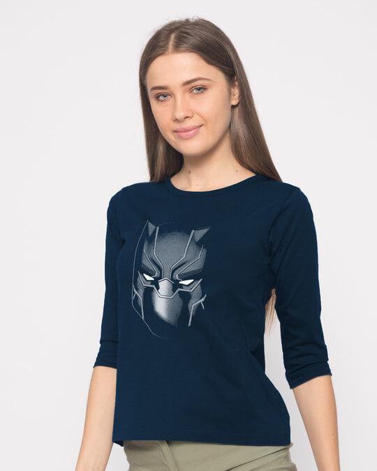 Shop Black Panther Face Round Neck 3/4th Sleeve T-Shirt (AVL)-Back