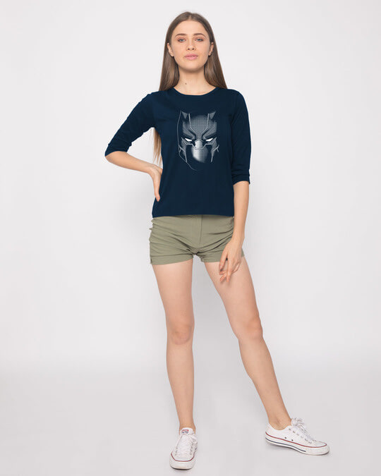 Shop Black Panther Face Round Neck 3/4th Sleeve T-Shirt (AVL)-Full