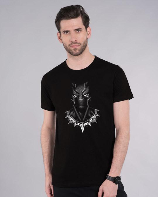 Shop Black Panther Of Wakanda Glow In Dark Half Sleeve T-Shirt (AVL) Black-Back