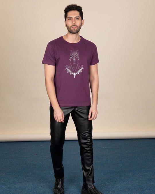 Shop Black Panther Of Wakanda Glow In Dark Half Sleeve T-Shirt (AVL) -Full