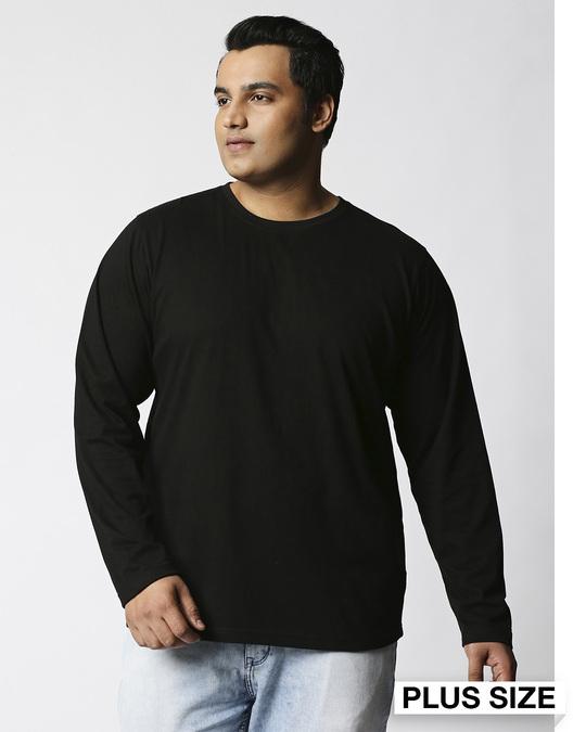 Shop Black Plus Size Full Sleeve T-Shirt-Front