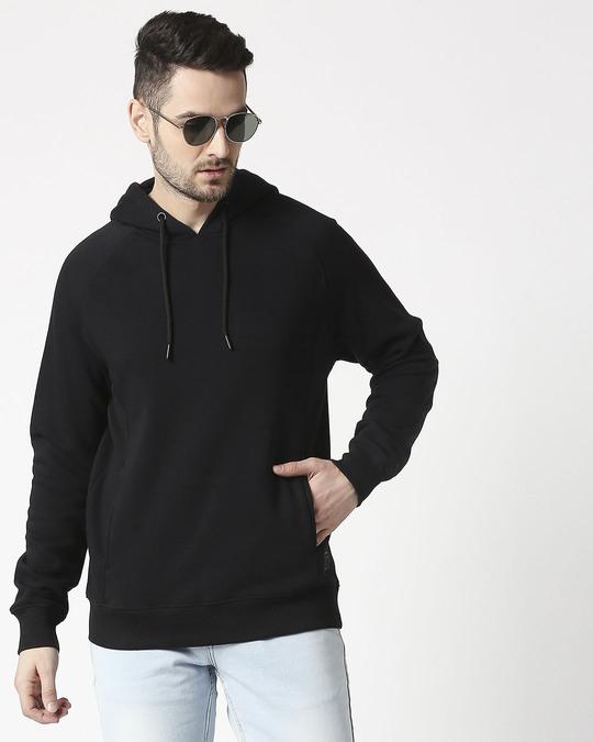 Shop Black Stylised Panel Hoodie Sweat Shirt-Front