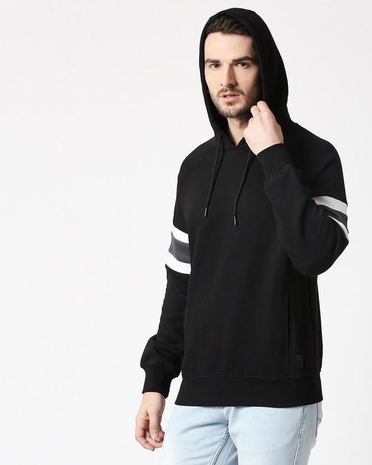Shop Black Sports Trim Hoodie Sweatshirt-Design