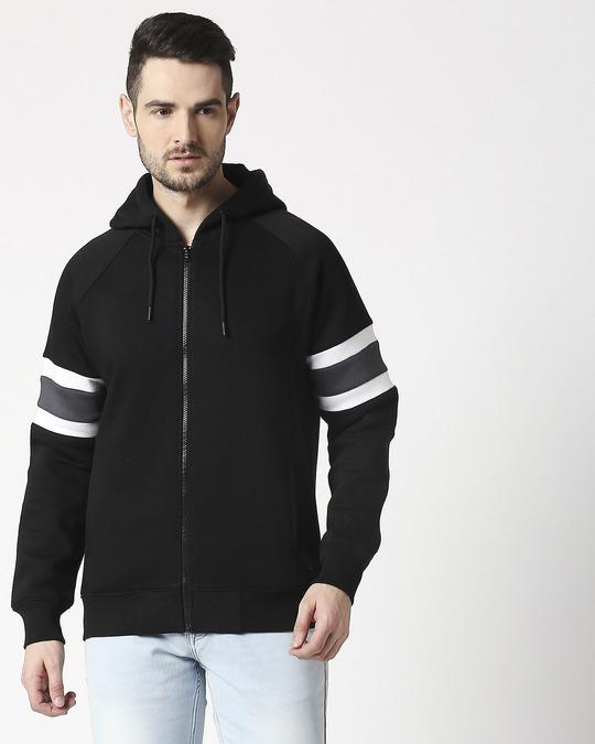 Shop Black Sports Trim Zipper Hoodie-Back