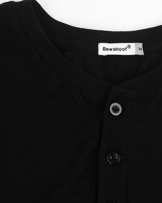 Shop Black Slub Half Sleeve Henley T-Shirt