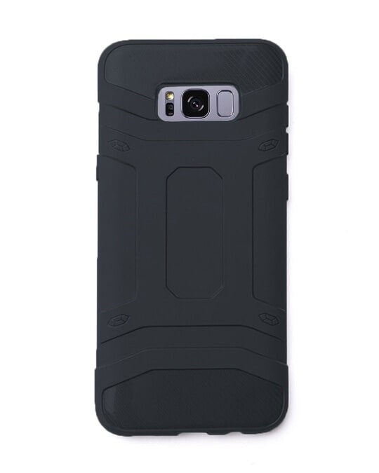 Shop Black Solid Samsung Galaxy S8 Defender Silicon Mobile Covers-Front