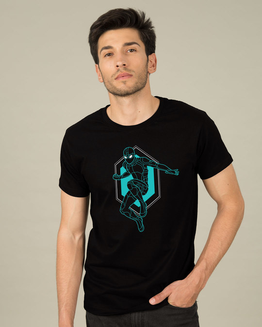 Shop Black Spidey Half Sleeve T-Shirt (FFHL)-Back
