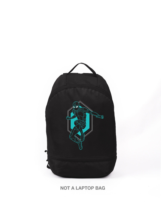 Shop Black Spidey Printed Small Backpack (FFHL)-Front