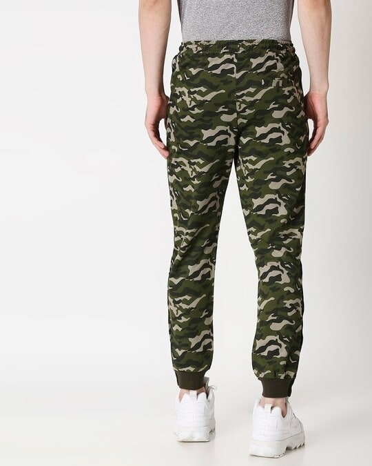 Shop Black Stripes Olive Camo Twin Stripes Casual Jogger Pants-Full