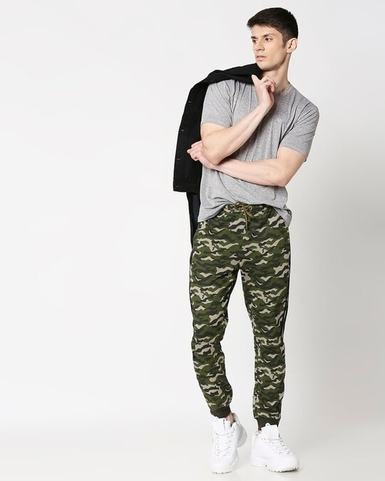 Shop Black Stripes Olive Camo Twin Stripes Casual Jogger Pants