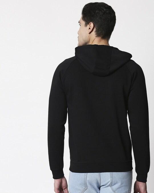 Shop Black Stylised Panel Zipper Hoodie-Full