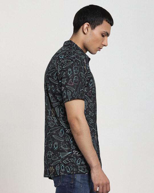 Shop Black Summar AOP Half Sleeve Shirt-Design