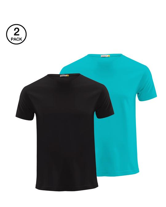 Shop Men's Half Sleeve Pack of 2 (Black & Blue)-Front