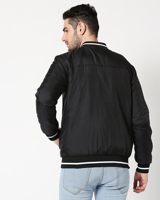 Shop Black Ultra Varsity Bomber Jacket-Full