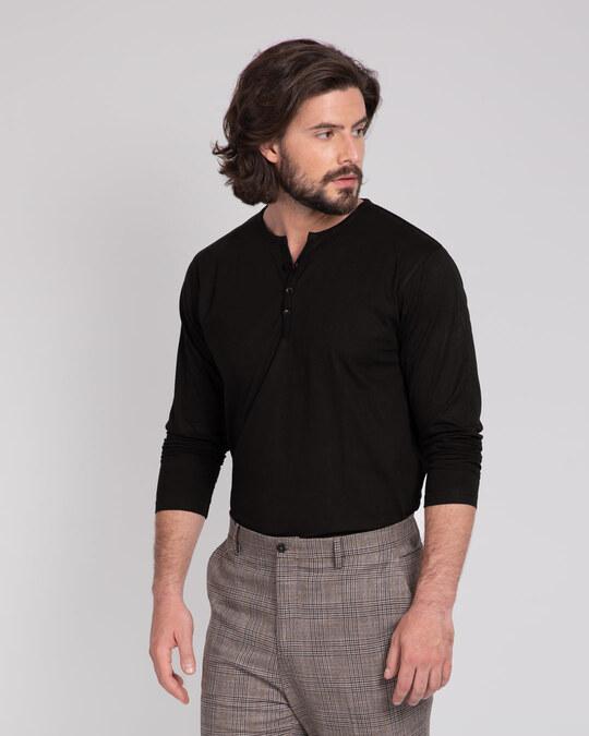 Shop Black V-Neck Henley T-Shirt-Back