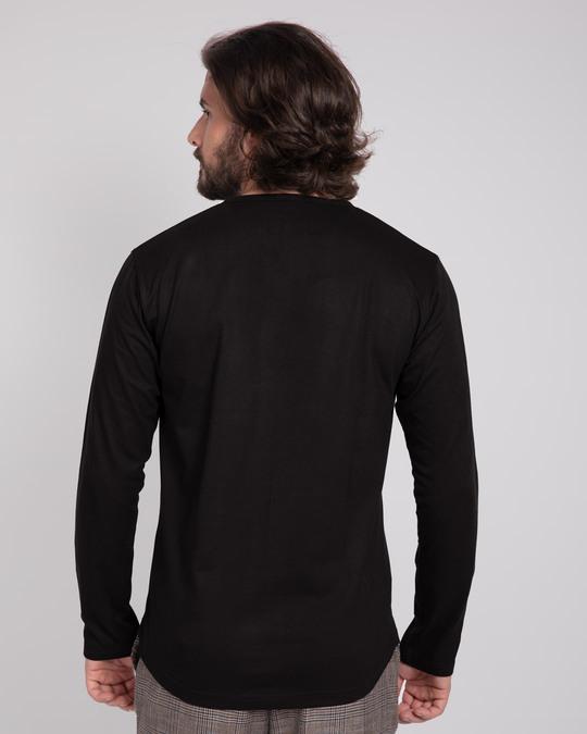 Shop Black V-Neck Henley T-Shirt-Design