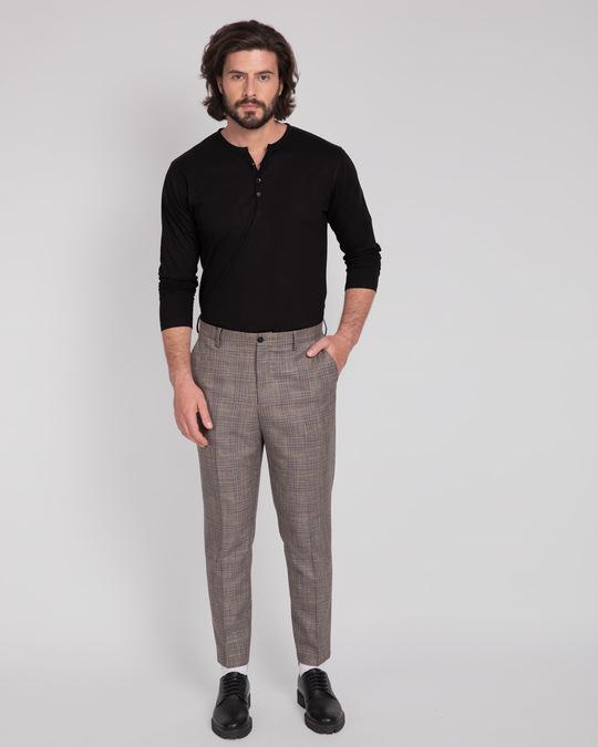 Shop Black V-Neck Henley T-Shirt-Full