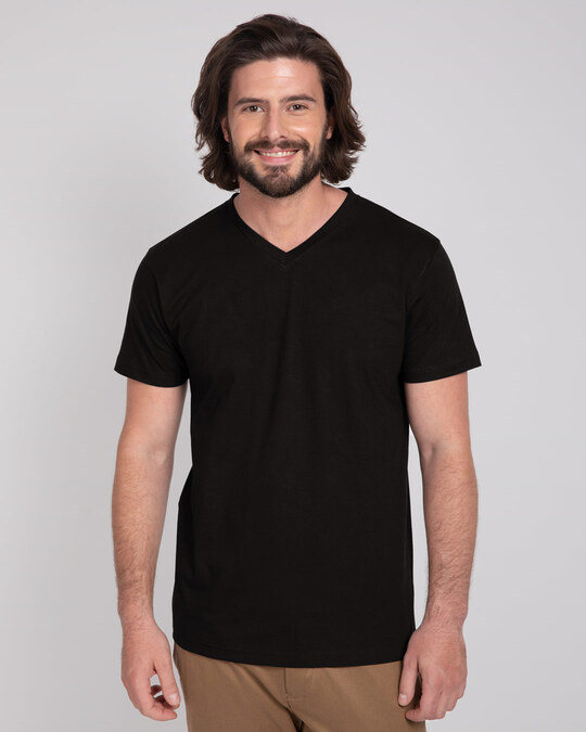 Shop Black V-Neck T-Shirt-Front