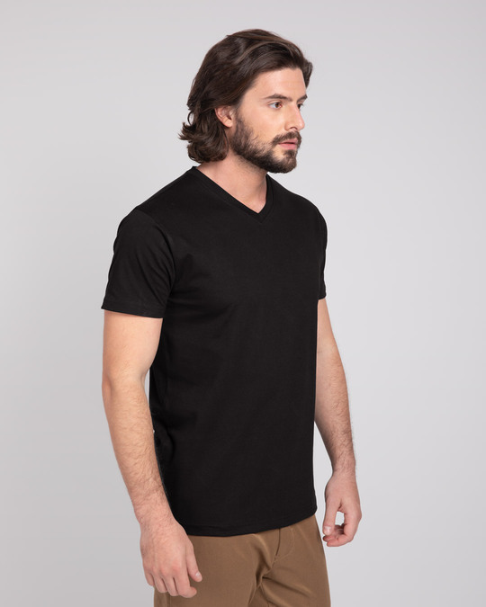 Shop Black V-Neck T-Shirt-Back