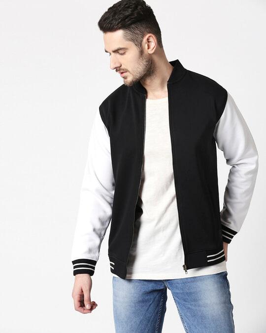 Shop Black Varsity Bomber Jacket-Back